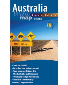 Australia Wall Map Laminated - Meridian - 1000mm w x 840mm h